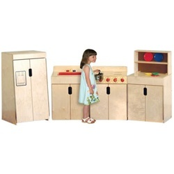 Wood Designs Tip-Me-Not Play Kitchen Set - Each play kitchen set includes a play sink, play stove, play refrigerator, and play hutch constructed of 100 percent Healthy Kids Plywood with a Tuff-Gloss UV finish and a lifetime warranty against normal wear and tear. These wooden kitchen playsets feature Pinch-Me-Not hinges for added safety and an exclusive Tip-Me-Not design for 300 percent more tip-resistance.  [WD10082]