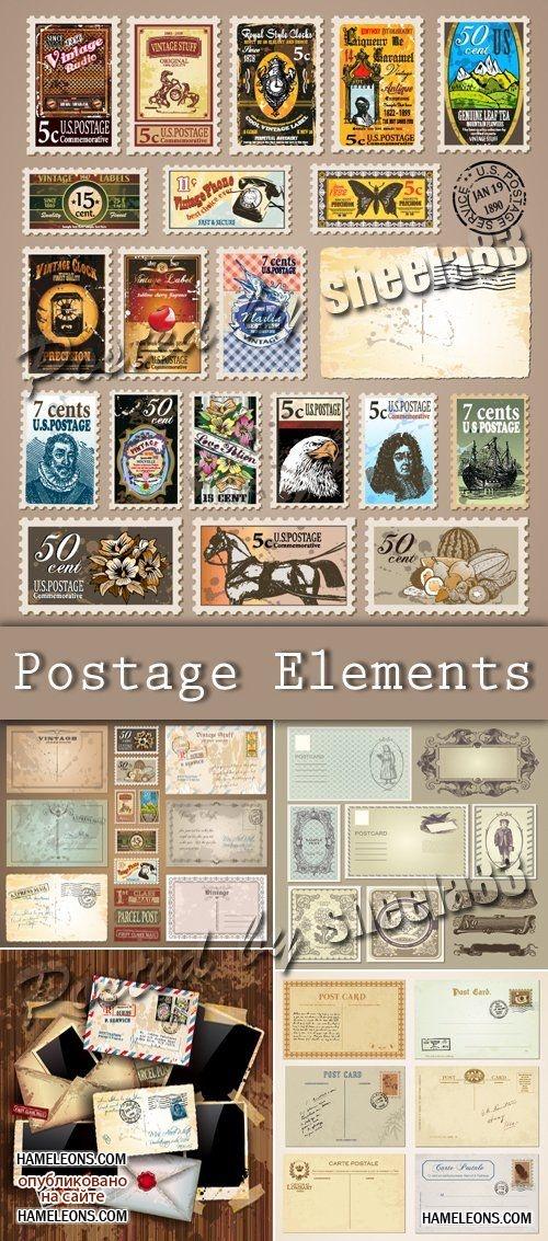 Винтажные конверты и марки в векторе   Postage Vector