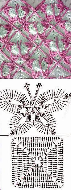 Butterfly Crochet Granny Square Pattern