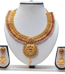 Buy Fashionable Ruby Kundan Flower Design Necklace Set south-indian-jewellery online at, http://www.mirraw.com/designers/swarajshop--3/designs/fashionable-ruby-kundan-flower-design-necklace-set-south-indian-jewellery