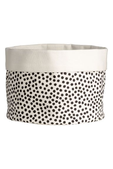 Fabric bread basket - Natural white/Black spotted - Home All | H&M GB 1