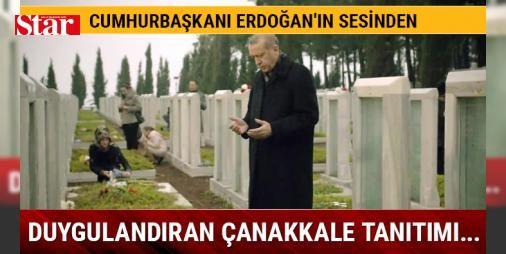 """Cumhurbaşkanı'nın sesinden duygulandıran Çanakkale Zaferi tanıtım filmi: Cumhurbaşkanlığı tarafından yayınlanan Çanakkale Zaferi'nin 102. yıl dönümü dolayısıyla tanıtım filmi paylaşıldı. Çanakkale Şehitliği görüntülerinin yeraldığı filmde Cumhurbaşkanı Recep Tayyip Erdoğan'ın sesinden Arif Nihat Asya'nın """"Dua"""" şiirine yer veriliyor. """"Sen hiç şühedanın sesini duydun mu"""" sorusuyla başlayan filmde, Çanakkale Savaşı'nı temsilen Osmanlı coğrafyasının dört bir yanından cephedeki askerlerin tekmil…"""