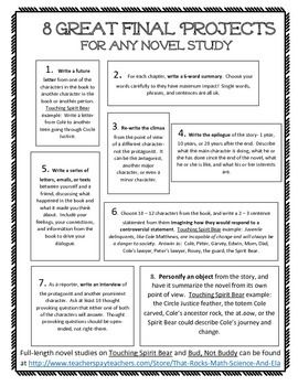 8 great ideas that can be used with any novel study at any grade level.  Better than book reports, these ideas will have your students think more complexly about the characters, themes, nuances, and connections of the books.  These project ideas are also found in the novel study for Touching Spirit Bear.