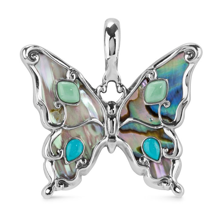 Silver Multi Color Butterfly Pendant | Made in USA