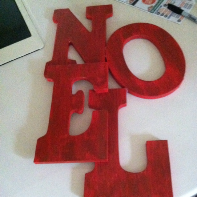 Saw this and recreated it pretty easily!! 1. Buy the letters 2. Paint red ( I used primer red but a brick red might have been better) 3. While red paint is still tacky paint brown over the top ( I mixed a bunch of browns together to get the rustic look I wanted) 4. My paint was old and chunky which added to the old look! 5. I thought about taking sand paper to the edges but it's still up in the air!