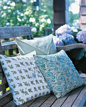 Napkin-Fold Pillow Cases  Brighten outdoor spaces with decorative pillows sewn from cloth napkins.