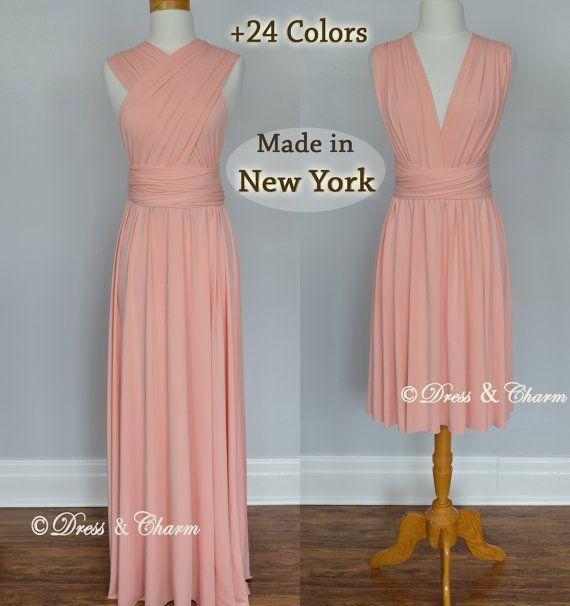 Peach Bridesmaid Dress, Infinity Dress, bridesmaid gown, Maid of Honor Dress Convertible dress, Multiway Wrap Dress, Evening Dress multiwear