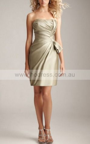 Sheath Strapless Short Satin Natural Cocktail Dresses gt1610--Hodress