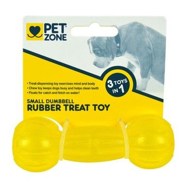 PetZone Toy Treat Rubber Dumbbell Small Chew and Carry Dogs Help Clean Teeth