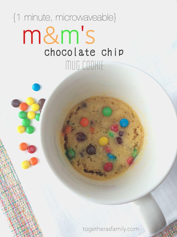 M&M's Chocolate Chip Mug Cookie- www.togetherasfamily.com