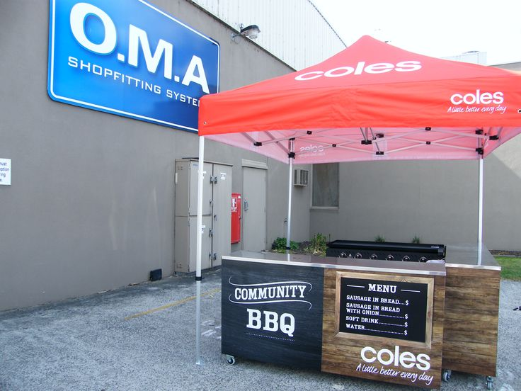 BBQ stand is constructed with a metal frame, plywood and composite panel with digital print artwork applied