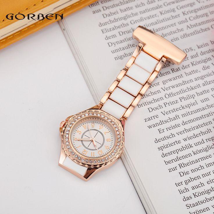 >> Click to Buy << New Fashion White Rhinestone Stainless Steel Quartz Nurse Watch Fob Chain Women Lady Dress Pocket Watch Gifts Reloj de enfermera #Affiliate