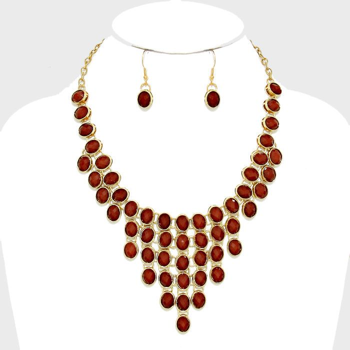 Oval Gemstone Cluster Bib Necklace Matching Earrings €35