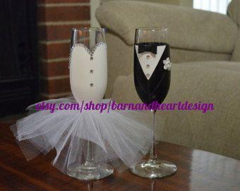 Vin de mariée en verre avec des paillettes par BarnandHeartDesign