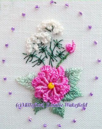 RosalieWakefield-Millefiori: A Pansy in Brazilian Dimensional Embroidery