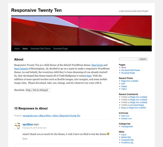 This free child theme of the default WordPress theme includes responsive design, making it a great framework for creating a custom responsive template.