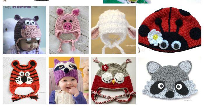 Patrones y tutoriales para hacer distintos gorros de animalitos a crochet, todos ellos gratuitos.