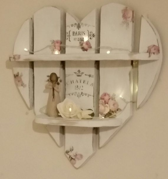 Beautiful Shabby Chic Rustic Wooden Heart Shelves. 20 x 20