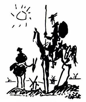 1955 Pablo Picasso - Don Quixote (sketch for Les Lettres Françaises, August)