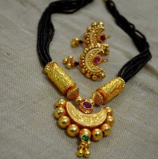 Black beads chain with pendent Price:1200 #elegantfashionwear #blackbeads #pendent