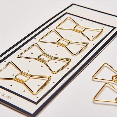 4stk Gold Büroklammer Heftklammer Binder Clips Papierklammer Geldklammer Neu