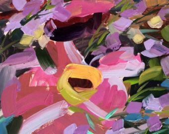 Tulipanes rosa Nº 6  8 x 10 pulgadas (20.32 x 25.4 cm) con 11 x 14 pulgadas (27.94 x 35.56 cm) blanco mat.  Pintura Acuarela sobre papel acuarela Arches. Montado en blanco Museo grado mat Junta.  Viene con respaldo rígido en una manga claro.  Firmado por el artista.  Autor: Angela Moulton ©
