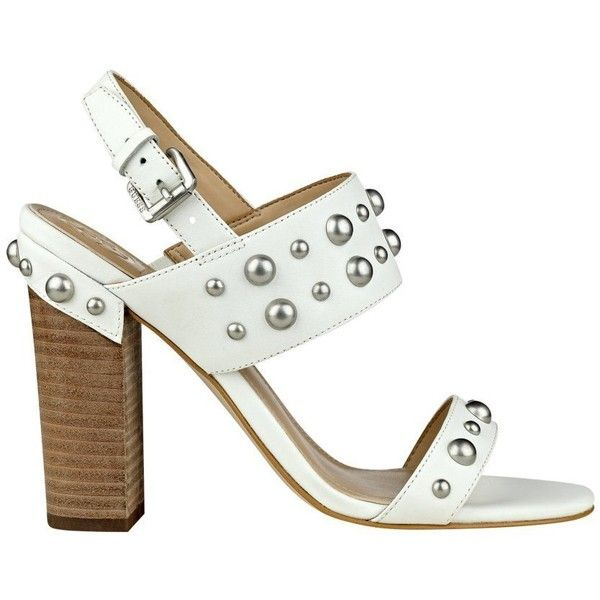 GUESS Women's Cheree Studded Sandals (£30) ❤ liked on Polyvore featuring shoes, sandals, wide fit shoes, guess shoes, platform wedge sandals, wide shoes and studded sandals
