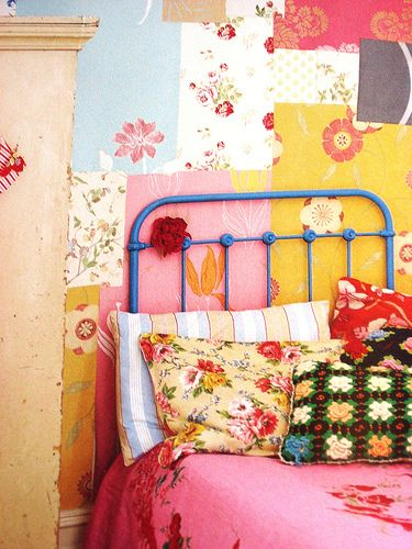 "Try using scraps of wallpaper to create colorful, eclectic bedroom wall decor. Taken from the book ""Flea Market Style"" by Emily Chalmers"