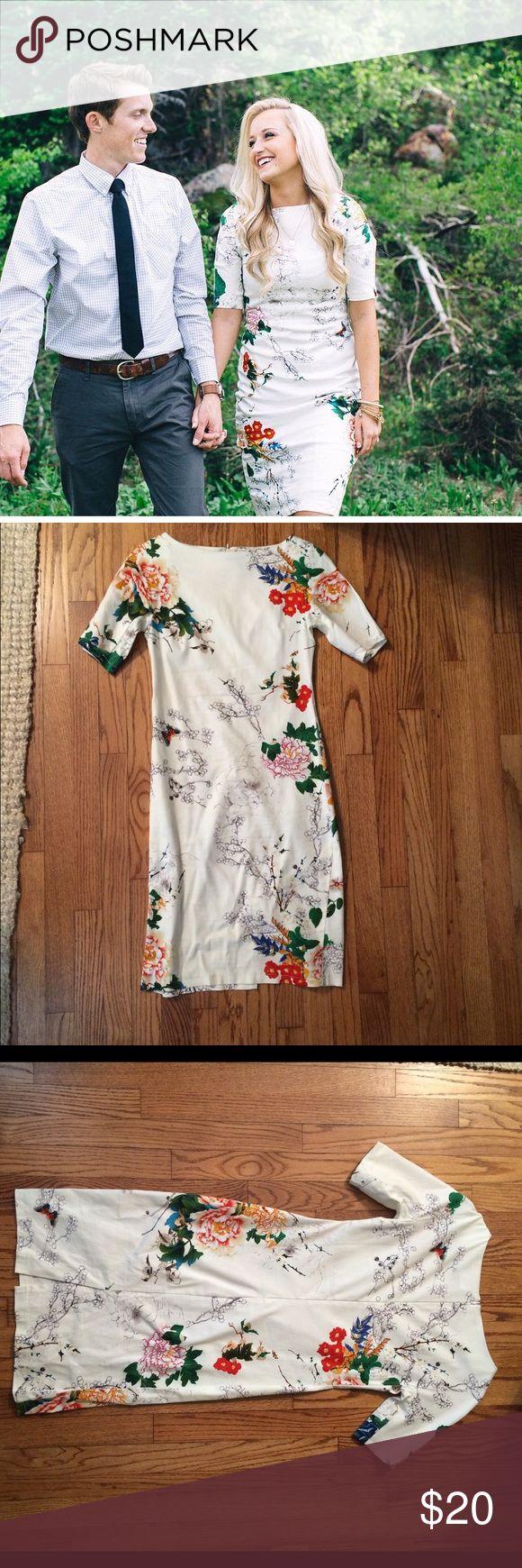 """Toni Dress"" from Roolee Boutique sz SM Short sleeve floral and butterfly, sheath dress. Boatneck. Shoulders 38cm, Bust 82-86cm, Waist 70cm, Hip 86 cm, Length 96 cm Roolee Boutique Dresses"