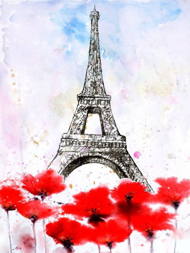 Watercolor Tulips Flowers Painting Travel Poster Paris Eiffel