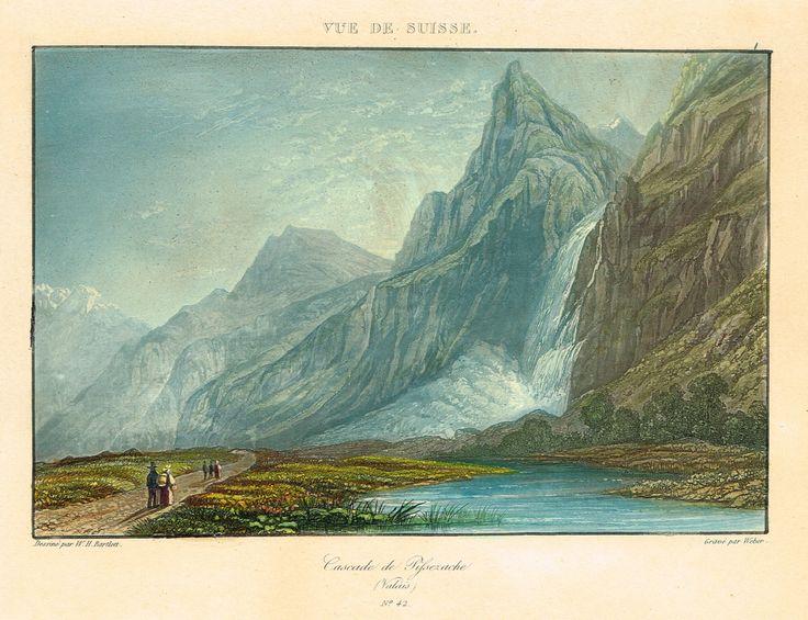 Cascade de Pissezache (Valais) - A Paris chez Wild, 38 Passage du Saumon - Gravé par Weber d'après W.H. Bartlett - Aquatinte XIXe - MAS Estampes Anciennes - MAS Antique Prints