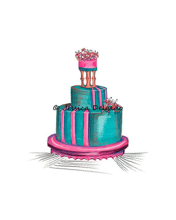 Tropical Cake Cake Drawing Pink Teal Orange by BeautyInPattern, $9.99