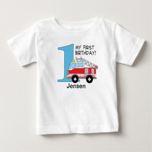 1st birthday fire truck blue/red baby t-shirt in 2018 | truck themed