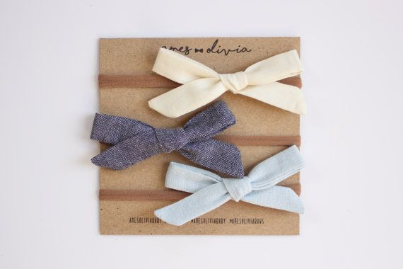 Amelia Hand-tied Baby Bow Three Pack Baby bows by AmesOliviaBaby
