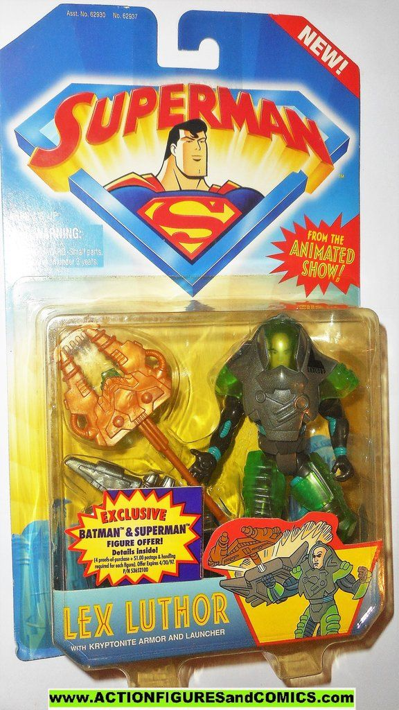 Superman Lex Luthor Kryptonite Armor Action Figure From Animated show by Kenner!