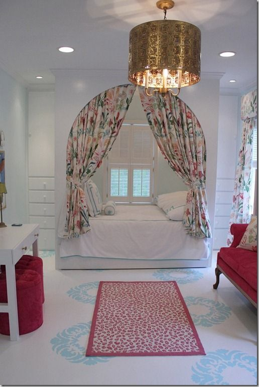 Sweet girls room! Love the bed/nook & stenciled floors!
