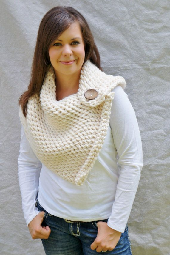 Chunky Cowl, Scarf, Shoulder warmer,shawl, Wrap, button, The Anatole Warmer - fisherman. By QuimsyCo