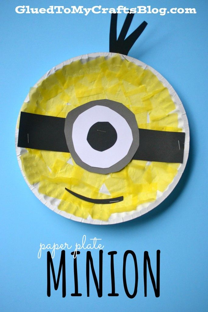 "Paper Plate Minion craft can be used in a back-to-school display: ""I'm one in a minion!"""