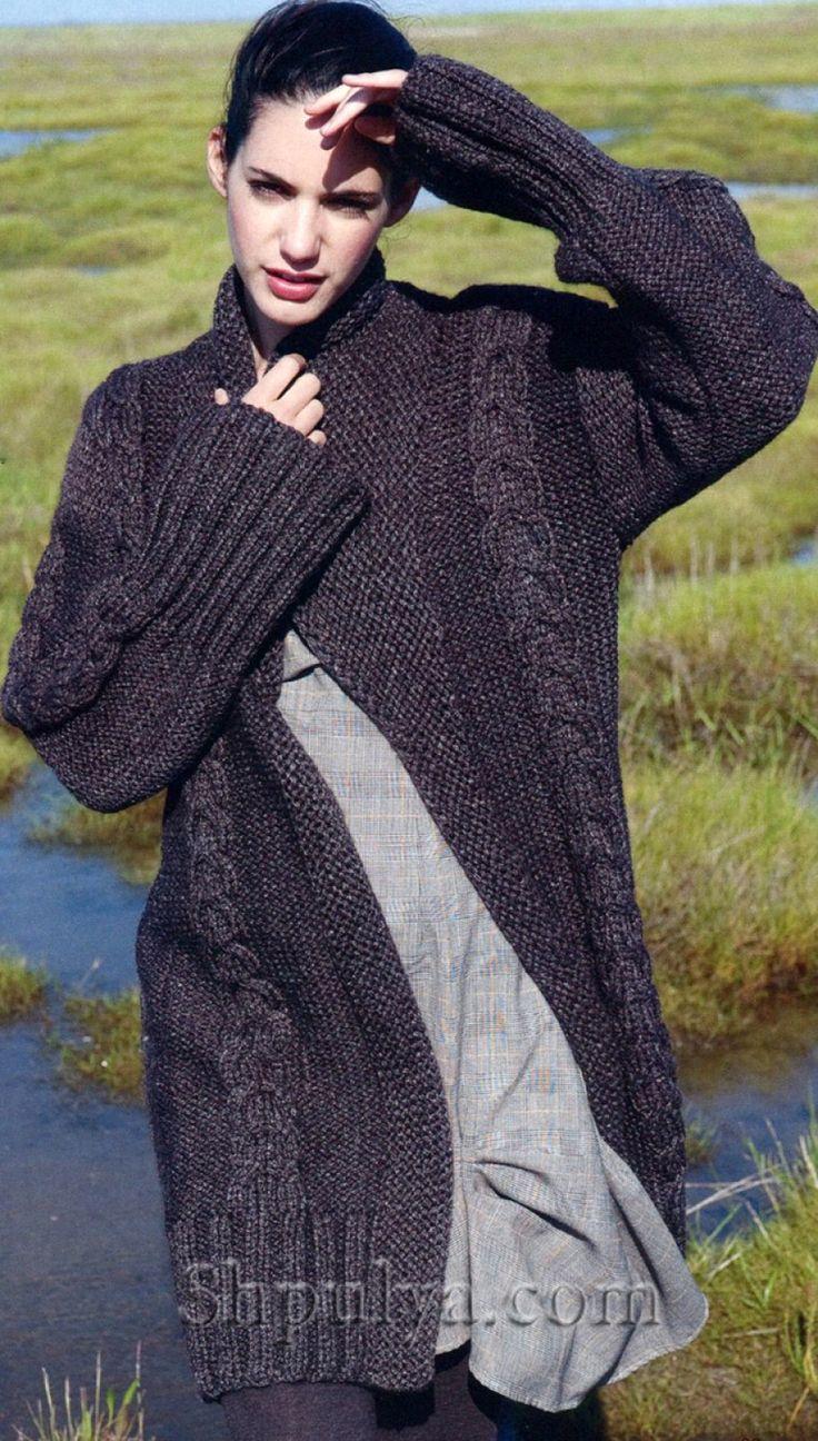 www.SHPULYA.com - Пальто из меланжевой пряжи с широкими планками