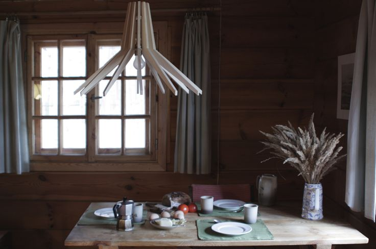 COPO lamp in country house. Hanging lamp of plywood. Made by SEAN