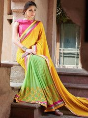 Yellow, Pink & Green Color Georgette Festival & Party Sarees : Vandina Collection YF-31332