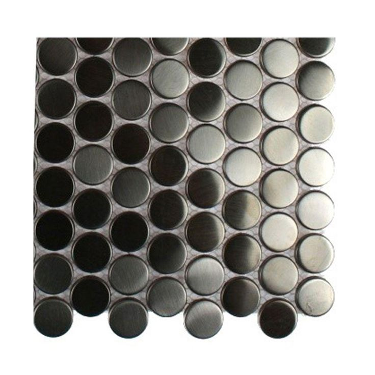 Splashback Tile Silver Stainless Steel Penny Round Metal Mosaic Floor And  Wall Tile   3 In