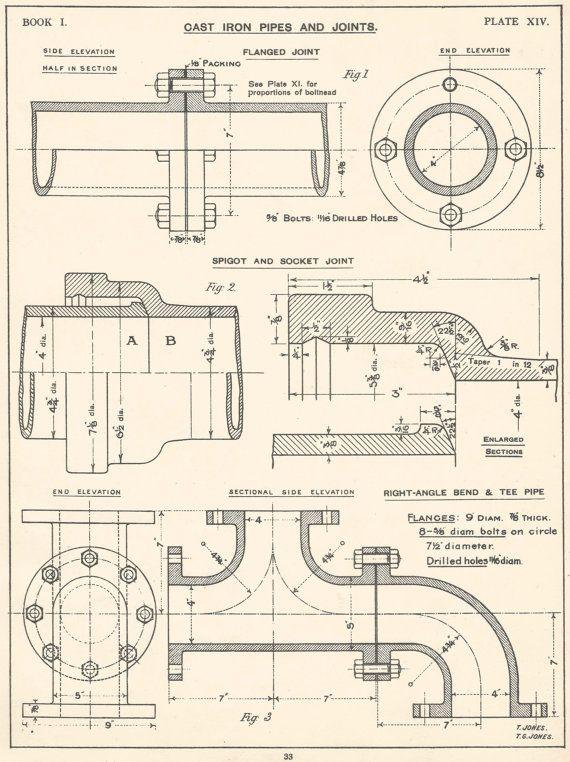Locomotive Machine Drawing 1930s Vintage Industrial Print