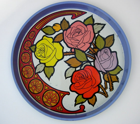 Retro Floral Tin Tray 1970s Romantic Roses by RaggleTaggleHawker