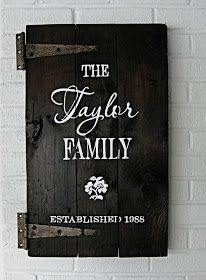 Family established sign on repurposed wooden cabinet door