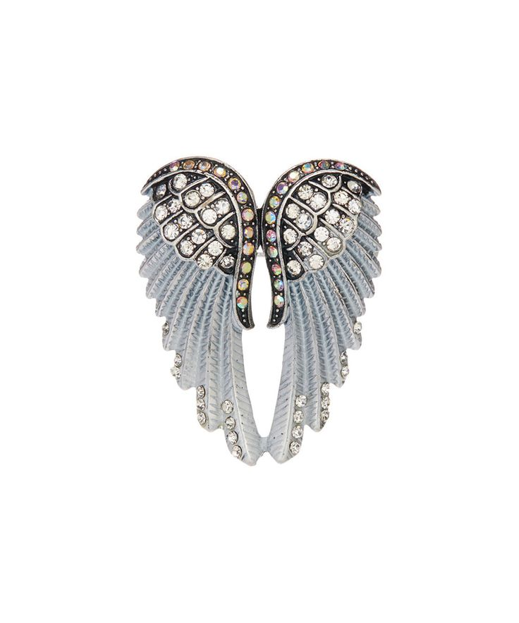 Take a look at this Frankie & Stein White Rhinestone & Silvertone Wing Brooch today!