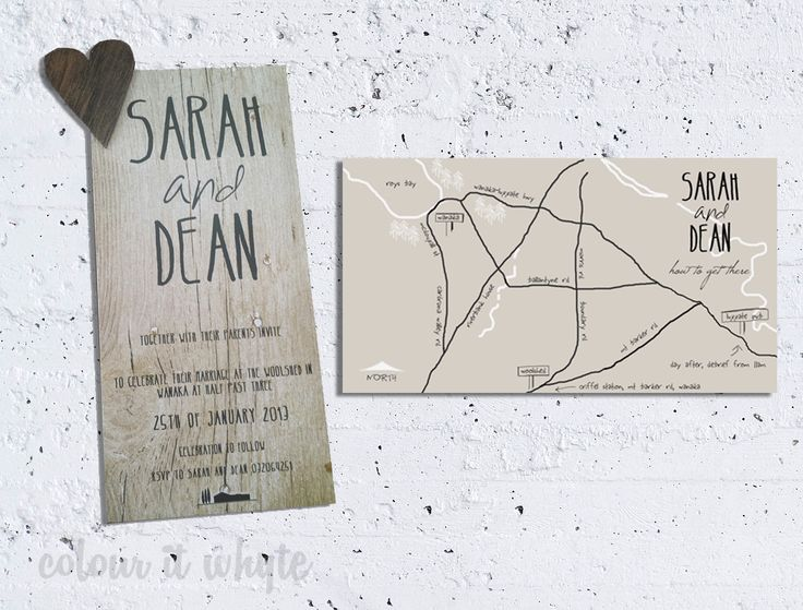 Double sided wedding invitation with fridge magnet - rustic theme
