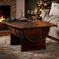 Handmade+Vintage+Oak+Whiskey+Barrel+Coffee+Table+at+Wine+Enthusiast+-+$895.00