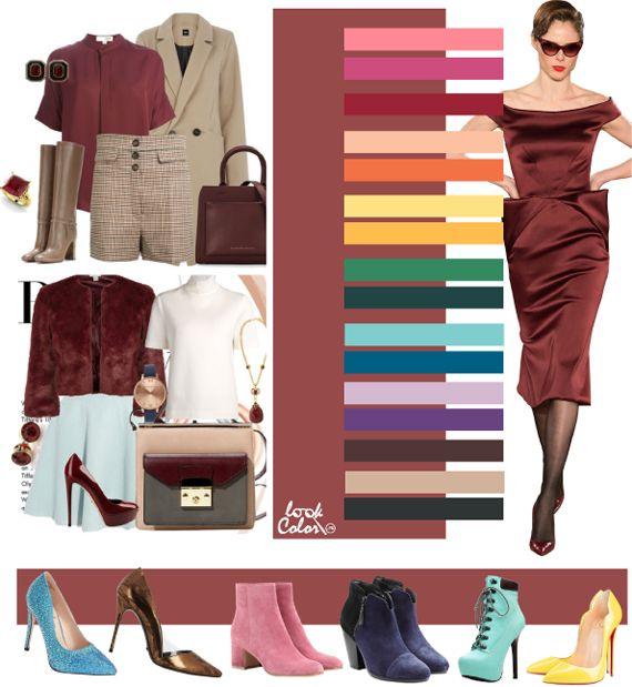 Сочетание цвета Марсала в одежде 2016  Марсала 18-1438 . Красно-коричневый, уходящий в бордовый, создает очень благородные, необычные и глянцевые сочетания. Бордовый цвет, это превосходство, сексуальность и активная жизненная позиция, поэтому используя модный цвет Марсала в своем гардеробе вы возвышаете себя.