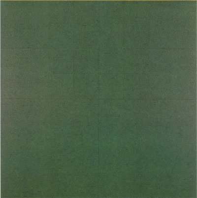 Milan Mrkusich, Monochrome Green 1979, acrylic on cardboard, 1225 mm x 1213 mm